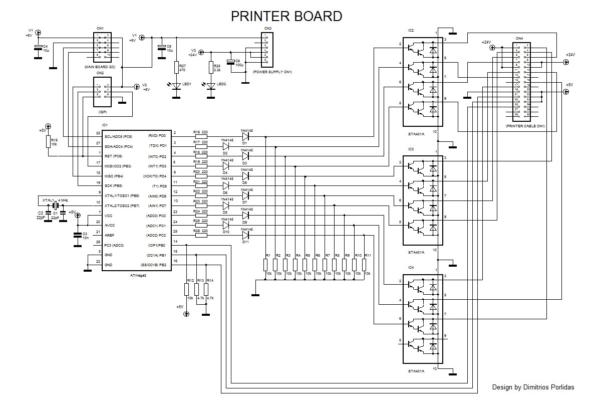 Electronic Cash Register With Fiscal Memory Based On Avr Seven Segment Multiplexing Circuit Diagram The Db Consists Of A Mcu Which Is Atmega8 Eight Display Led Type And Transistors For Displays It Communicates